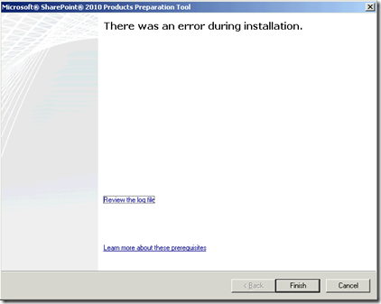Error running the Prerequisite Installer with an Arguments File