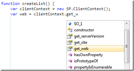 Enabling IntelliSense for the JavaScript Client Object Model in SharePoint 2010