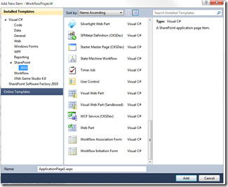 Adding a New SharePoint Item in Visual Studio 2010
