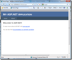 The Simple ASP.NET Application Running