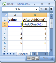 Click to zoom! Using my Excel Services UDF in Excel Client 2007.