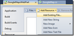 Visual Studio Resources: Add Existing File